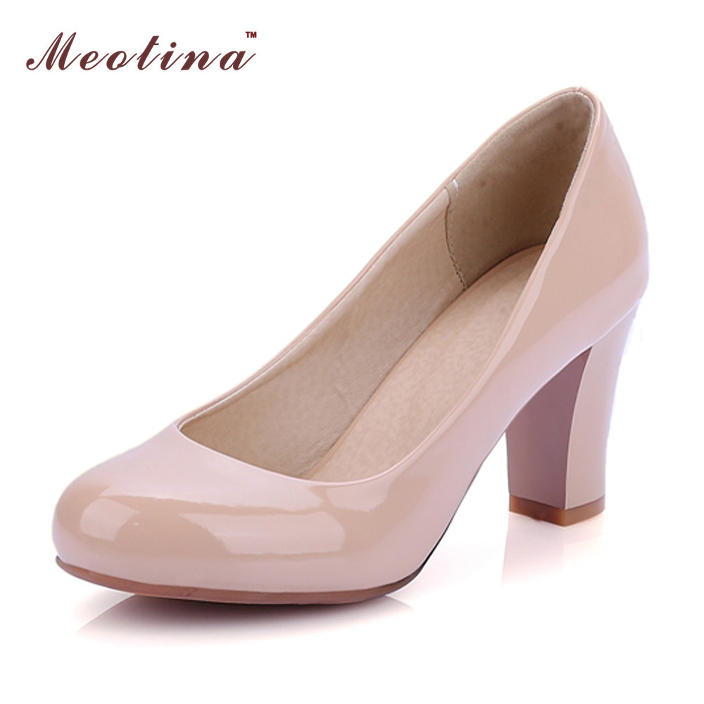 Meotina Women Shoes High Heels Round Toe Patent Leather Thick High Heels Ladies Shoes Dress Work Pumps White Red Size  9 10 43 meotina high heels shoes women pumps party shoes fashion thick high heels pointed toe flock ladies shoes gray plus size 10 40 43