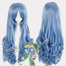 цена на Free Shipping DATE A LIVE Yoshinon Cosplay Wigs for Women Female Anime Party Synthetic Hair 65cm Long Curly Wavy Light Blue Wig