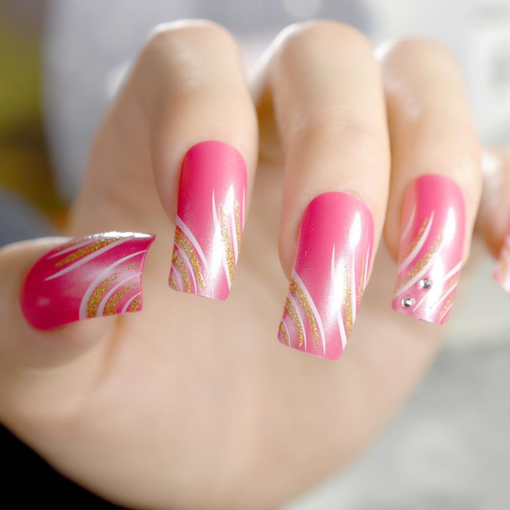 Artificial Nail Tips: Shiny Artificial Nail Tips Flat Top False Nails Sexy Red