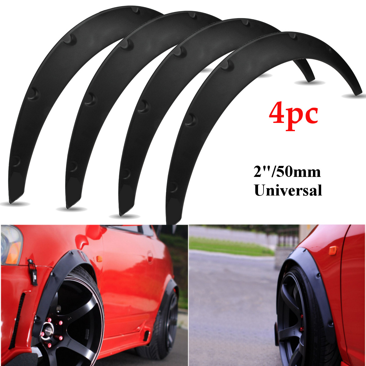 4Pcs 2inch Universal Flexible Car Mudguards Mud Splash Guards Mud Flaps Fender Flares Extra Wide Body