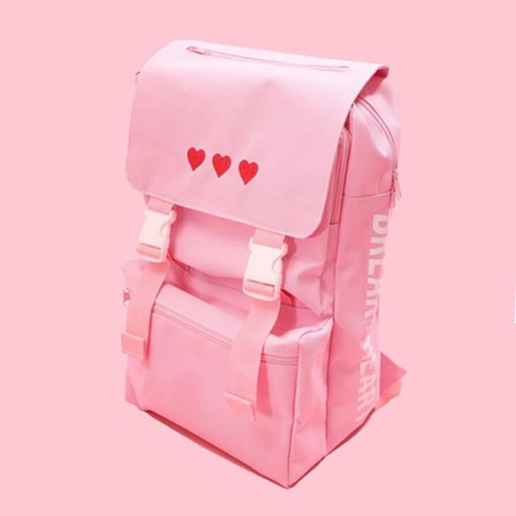Menina bonito amor bordado mochila de grande