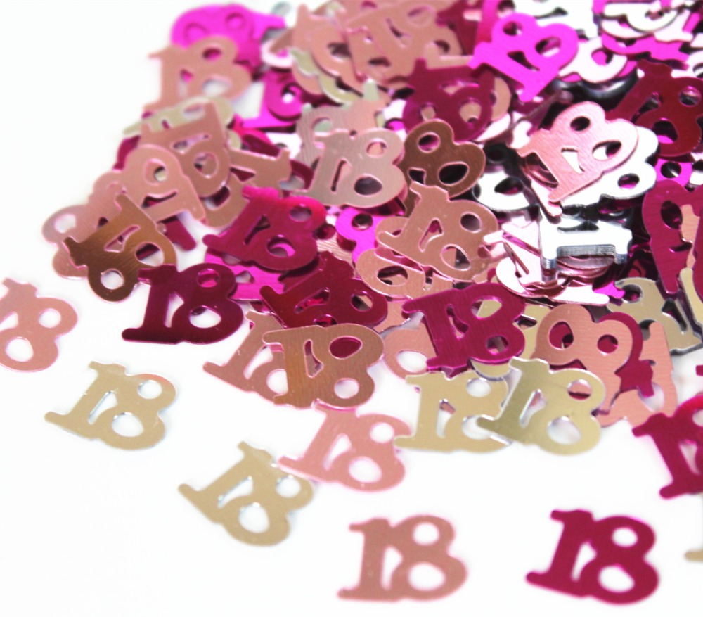 Girls Quinceaneras Age 18th Birthday Party Decoration Number 18 Pink Burgundy Black Silver GLITZ Sprinkles Foil CONFETTI