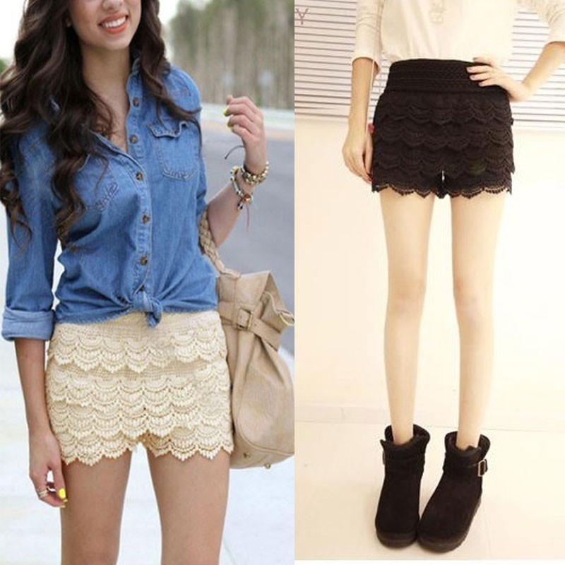 fashion korean womens sweet cute crochet tiered lace shorts skorts short pants in shorts from. Black Bedroom Furniture Sets. Home Design Ideas