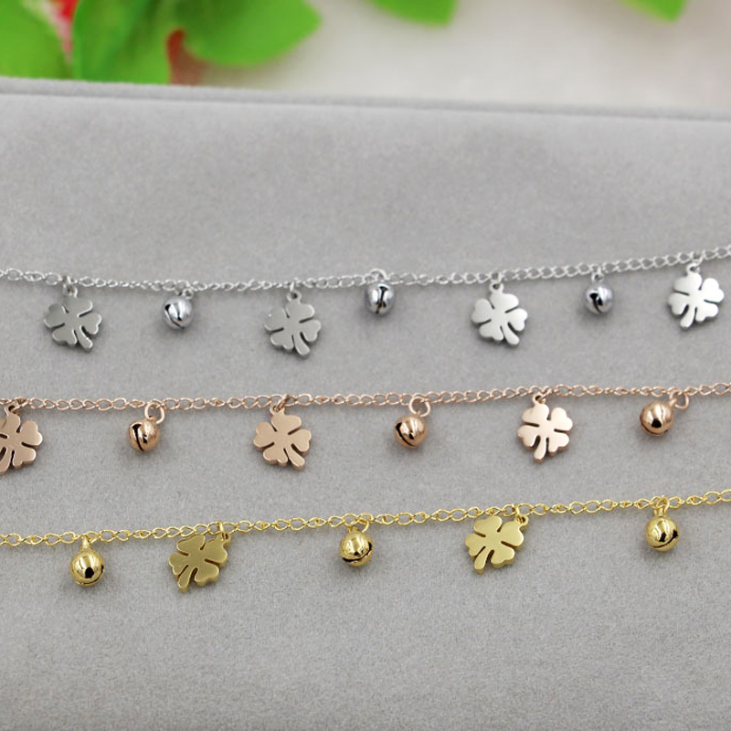 New Arrival Flowers And Bell Anklets For Women Titanium Steel Gold Rose Gold Silver Colors Women Jewelry Anklets Wholesale 5