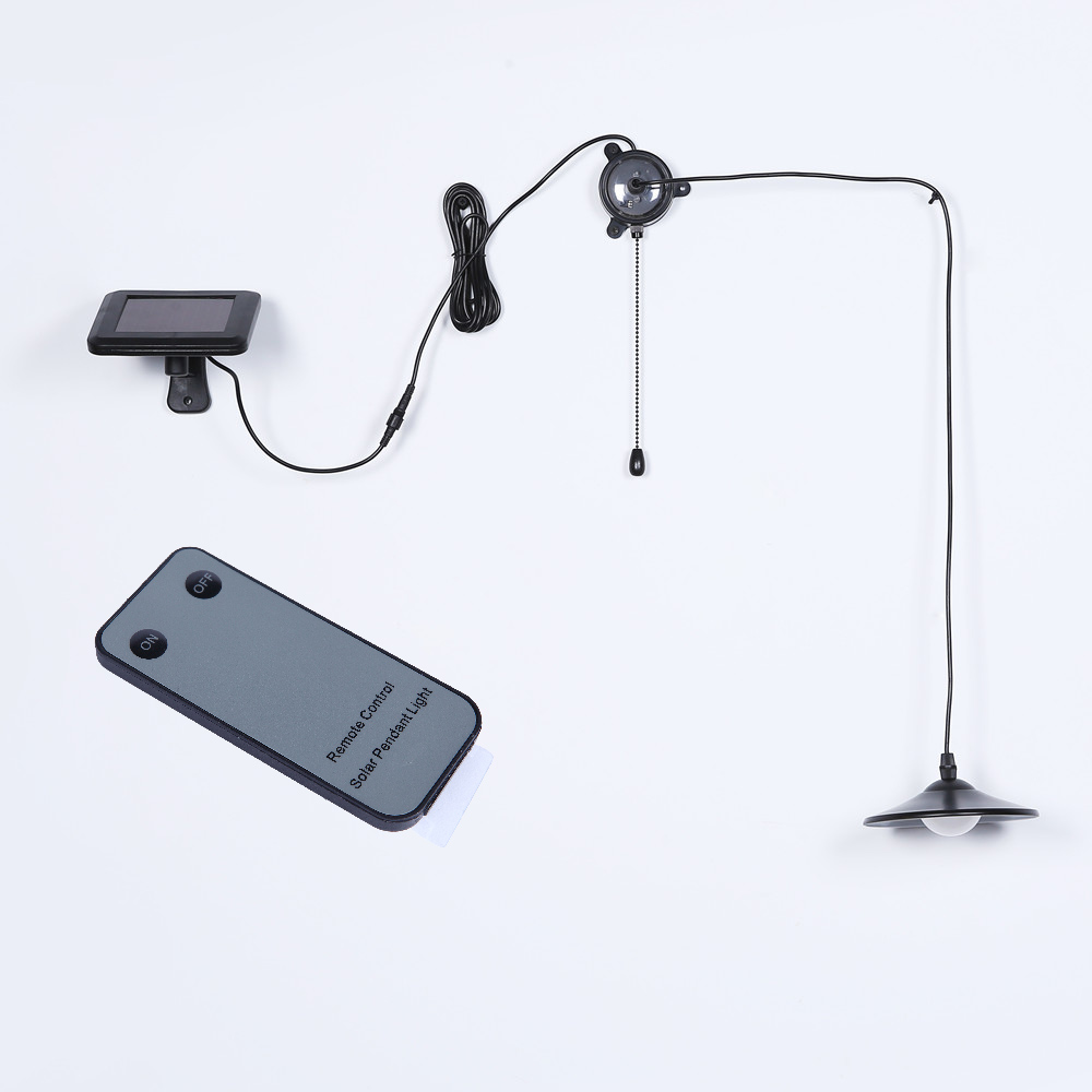 ФОТО 1X New Solar-Powered Pendant Lights, Black Stainless Steel Body Solar Indoor Led Light Lamps for Study Room/Garage/Shed/Balcony