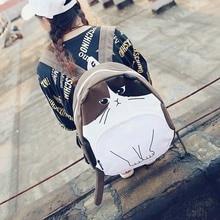 Femmes sac à dos 2016 Nouvelle Mode toile école sac à dos fille belle chat sac à dos simple sac d'école femmes casual femmes sac XA830B