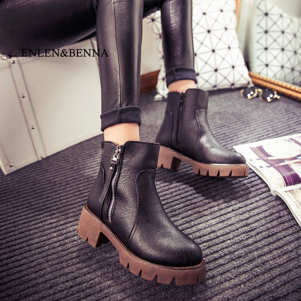 GOXPACER Autumn and winter women shoes vintage fashion ankle boots women boots thick heel leather boots female side Size Zipper стоимость