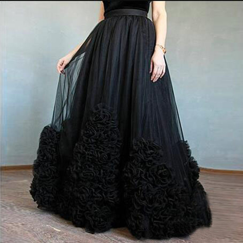 Illusion 3D Flower Black Tulle Skirts For Bridal To Photography A line Long Tulle Skirts Women