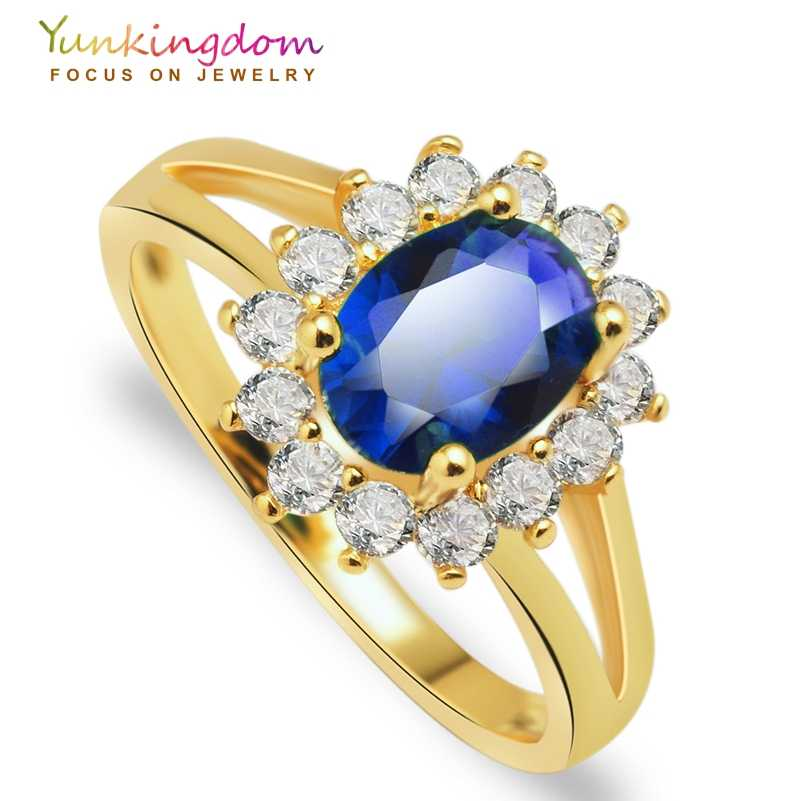 Yunkingdom Charms wedding rings for women gold color fashion flower rings