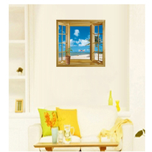 Free shipping New arrival 3D Window Scenery Beautiful Sea Beach View wall sticker fake window wall poster decorative poster