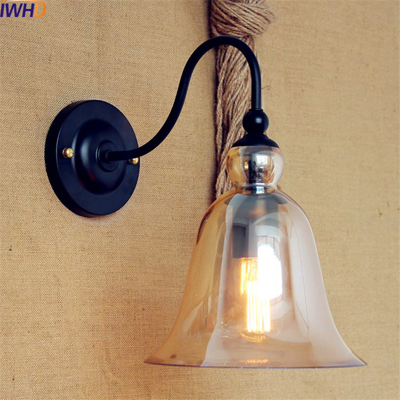 IWHD American Retro Vintage Wall Lamp Lights Glass Edison Loft Industrial Wall Sconce LED Stair Light Arandela Apliques Pared brass glass wall lights led vintage edison american home stair lighting living room adjustable arm industrial wall lamp sconce