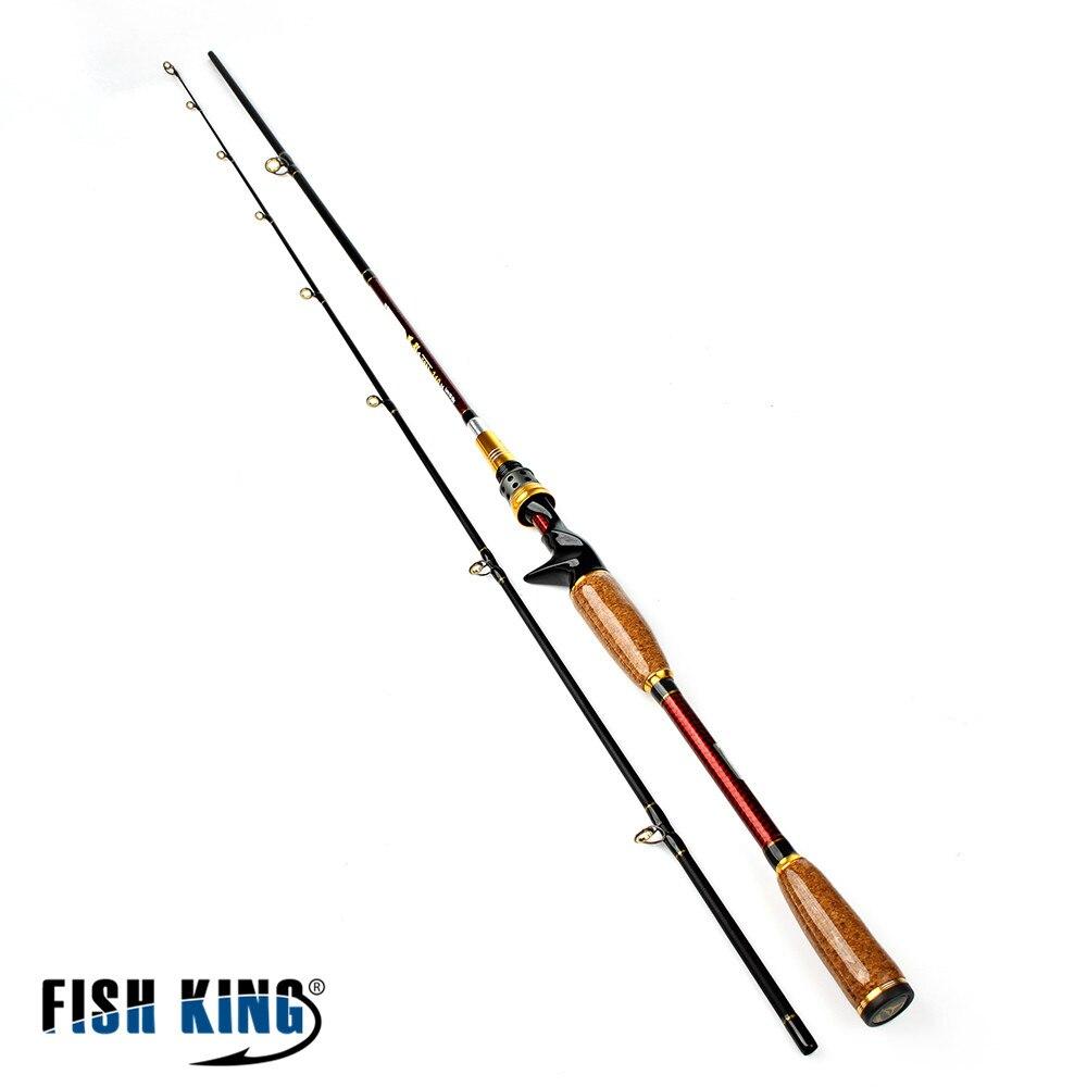FISH KING Carbon Hard Lure Fishing Rod Brand Super 2.1m/2.4m Two Segments Sections C.W.10-25g Plug Baitcasting Tackle Shop цена