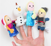Elsa Princess Anne Olaf Kristoff 10cm Finger puppets Baby Stuffed Girl doll toy Kids Preferred 1 set of 4
