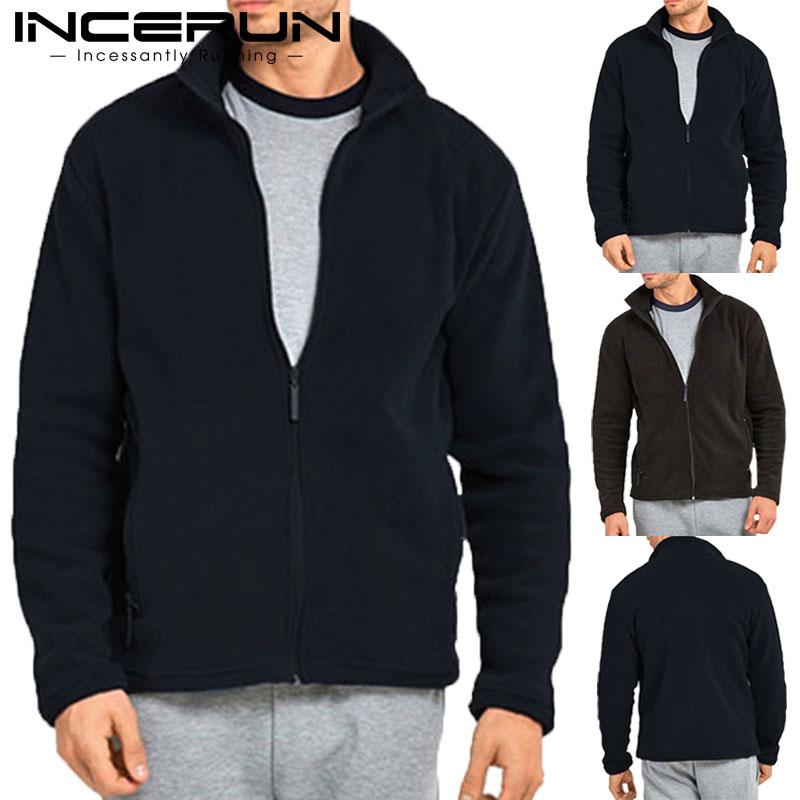 Brand Winter Men Fashion Tracksuit Hoodies Sweatshirts Zipper Jogger Fleece Hoody Sweatshirt Casual Outwear INCERUN Clothes