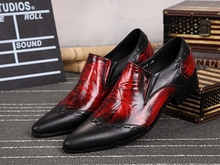 Italian Red black fashion men shoes luxury brand metallic handmade formal punk mens loafers dress wedding