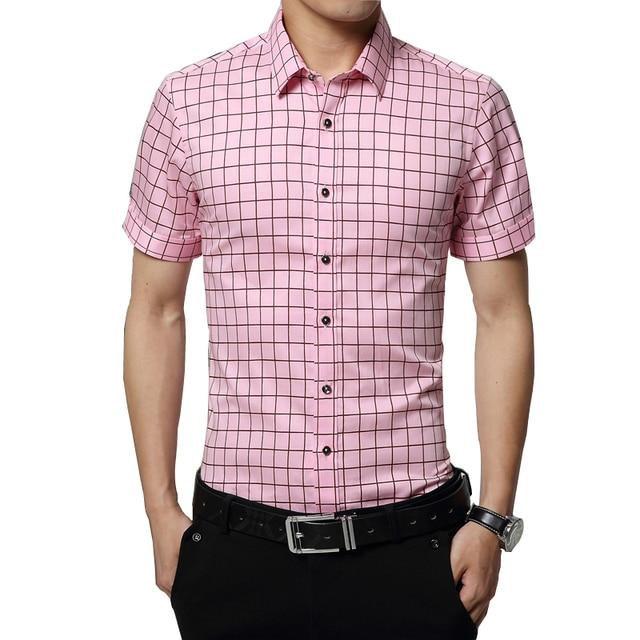Spring 2017 Men S Casual Plaid Shirts Short Sleeve Slim Fit Comfort