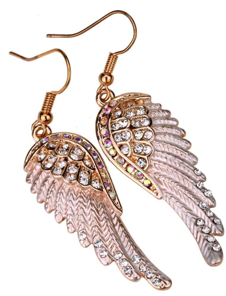 Engel vinger dingle øreringe antik guld sølv farve W krystal - Mode smykker - Foto 6