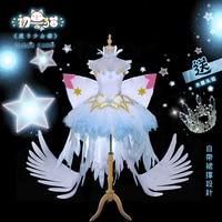 2018 Anime Card Captor SAKURA clear card OP Snow Angel SAKURA cosplay costume for girls,women Free Shipping New.