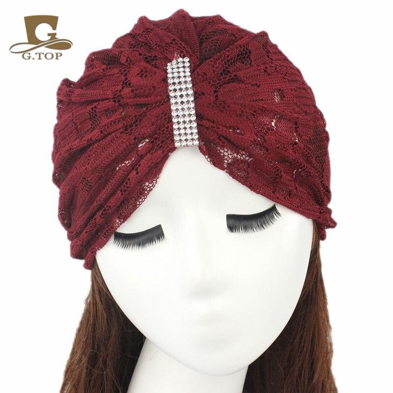 Φ_ΦLas mujeres sombrero de verano elástico turbante Head WRAP Encaje ...