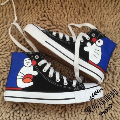 Doraemon Spider Superman Printing Cartoon High Top Breathable Canvas Uppers Sneakers Student Personalise Fashion Casual Shoes Men's Shoes