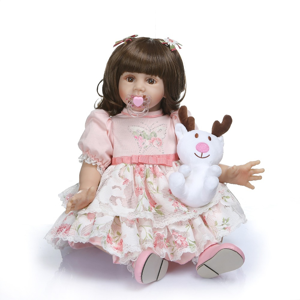 "24/"" Reborn Toddler Girl Toy Lifelike Vinyl Princess Baby Alive Doll Lovely Gift"