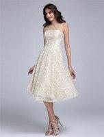 TS Couture A-linie Fit und Streulicht Illusion Ausschnitt Knielangen Spitze Cocktail Party Homecoming Prom Kleid mit Perlen Blume