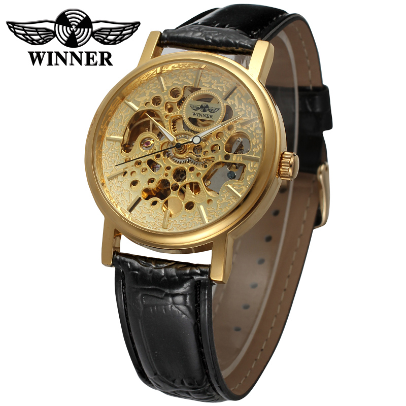 WINNER Men Luxury Brand Gold Casual Skeleton Genuine Leather Watch Automatic Mechanical Wristwatch Gift Box Relogio Releges 2016