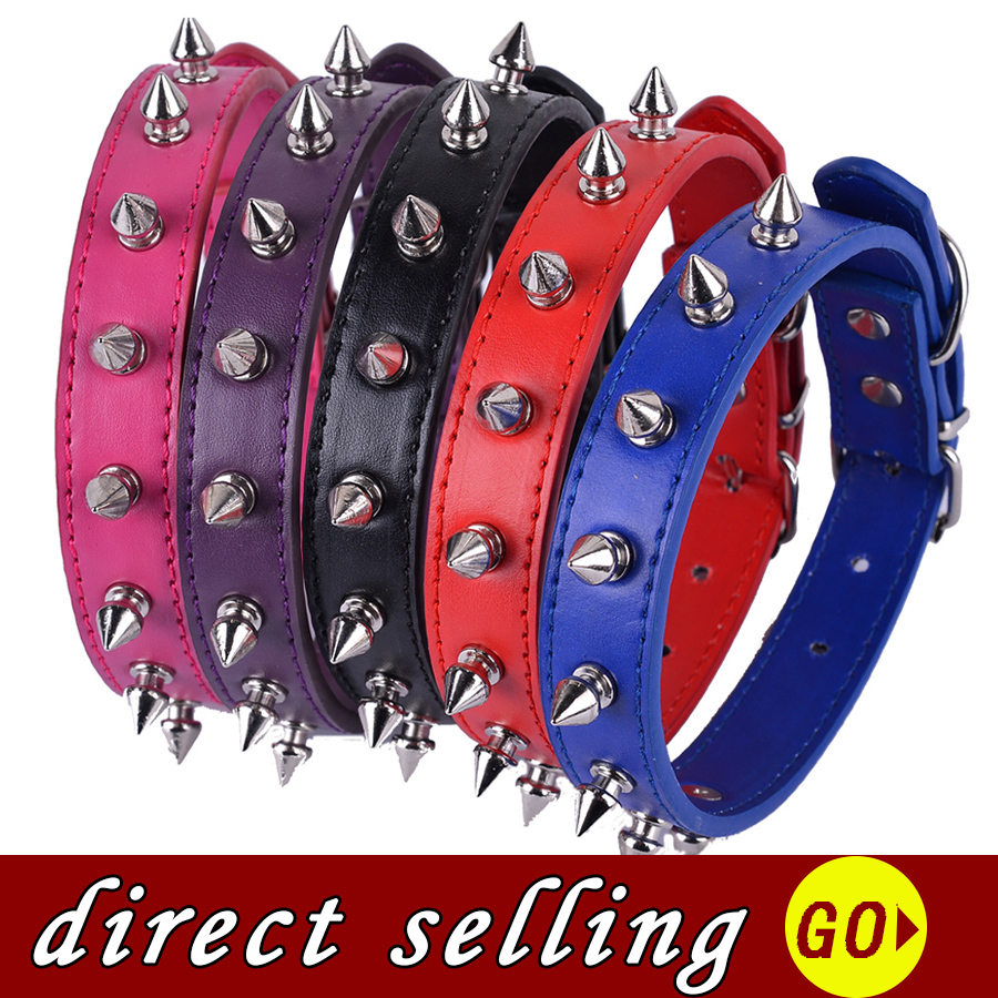Personalized Spiked Collar For Small Dogs Red Rose Purple Black Navyblue Colors Pu Leather Dog Collar Pet Dog Supplies