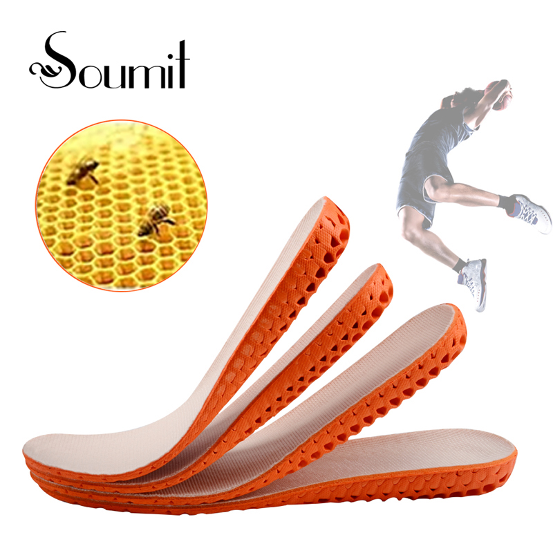 Soumit Breathable Honeycomb Height Increase Shoes Insoles for Men Women Reduce Muscular Ache Pain Insert Lift Taller Insole Pads soumit add 2cm heights wearing socks massaging insole ergonomic height increasing breathable comfort insoles for men and women