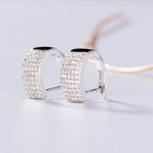 Image 4 - Kuololit Zircon Gemstone Hoop Earrings For Women Solid 925 Sterling Silver Wedding Engagement Band Earrings Fine Fashion Jewelry