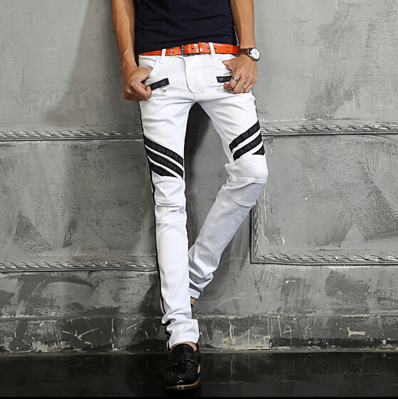 ФОТО Hot 2015 new Men's catwalk models motorcycle pants striped white jeans Slim feet trousers Motorcycle pants singer costumes pants
