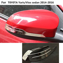 Car Stainless steel back rear view Rearview Side Mirror Cover stick trim frame lamp For Toyota Vios/Yaris sedan 2014 2015 2016