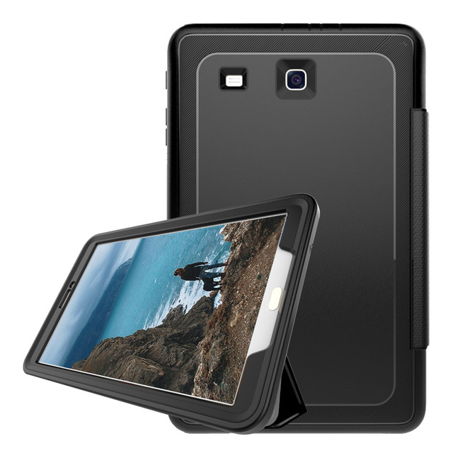 94ed299f335f For Samsung Galaxy Tab E 9.6 SM-T560 T561 3-Layer Smart Cover Case  Shockproof Heavy Duty PC+TPU+PU Folding Stand Tablet Case