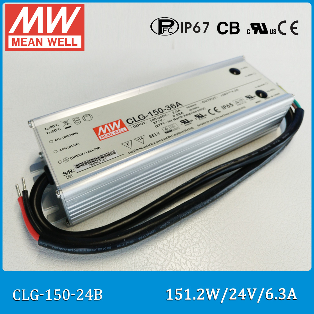 Original Meanwell LED power supply CLG-150-24B 6.3A 12V 151.2W IP67 led waterproof driver adjustable CLG-150 B type meanwell 12v 100w ul certificated clg series ip67 waterproof power supply 90 295vac to 12v dc