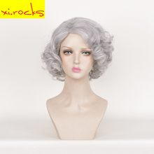 3537 Xi. Rocks Cosplay Synthetic Heat Resistant Wig Lighter Grey Short Hair Wigs For Women Bouffant Curly Pixie