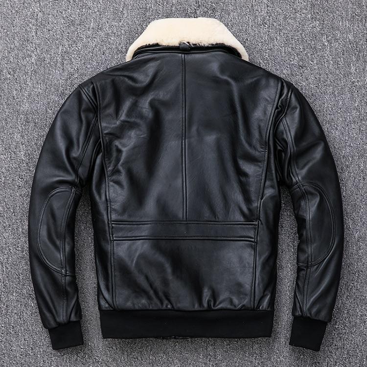 HTB1SAFLXEjrK1RkHFNRq6ySvpXaB MAPLESTEED Thickening Quilted 100% Sheepskin Leather Jacket Men Air Force G1 Flight Jacket Man Winter Coat Collar Removable M176