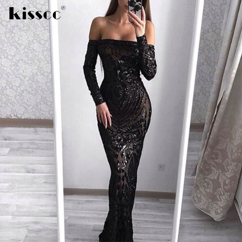 2018 Prom Off Shoulder Sequin Party Dress Floor Length Vestido Long Sleeve Bodycon Dress Back Zipper