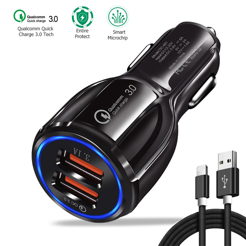 Galleria fotografica QC 3.0 Quick Charge Car Charger For Moblie Phone Car Charger For iphone X 8 7 6 5 SE Quick Charger For iphone USB Cable For ios