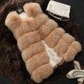 НОВЫЙ 2015 зима лоскутное искусственного меха пальто женщин Сгущать меховой жилет длинные Поддельные лисий мех жилет размер S-XXL CH09