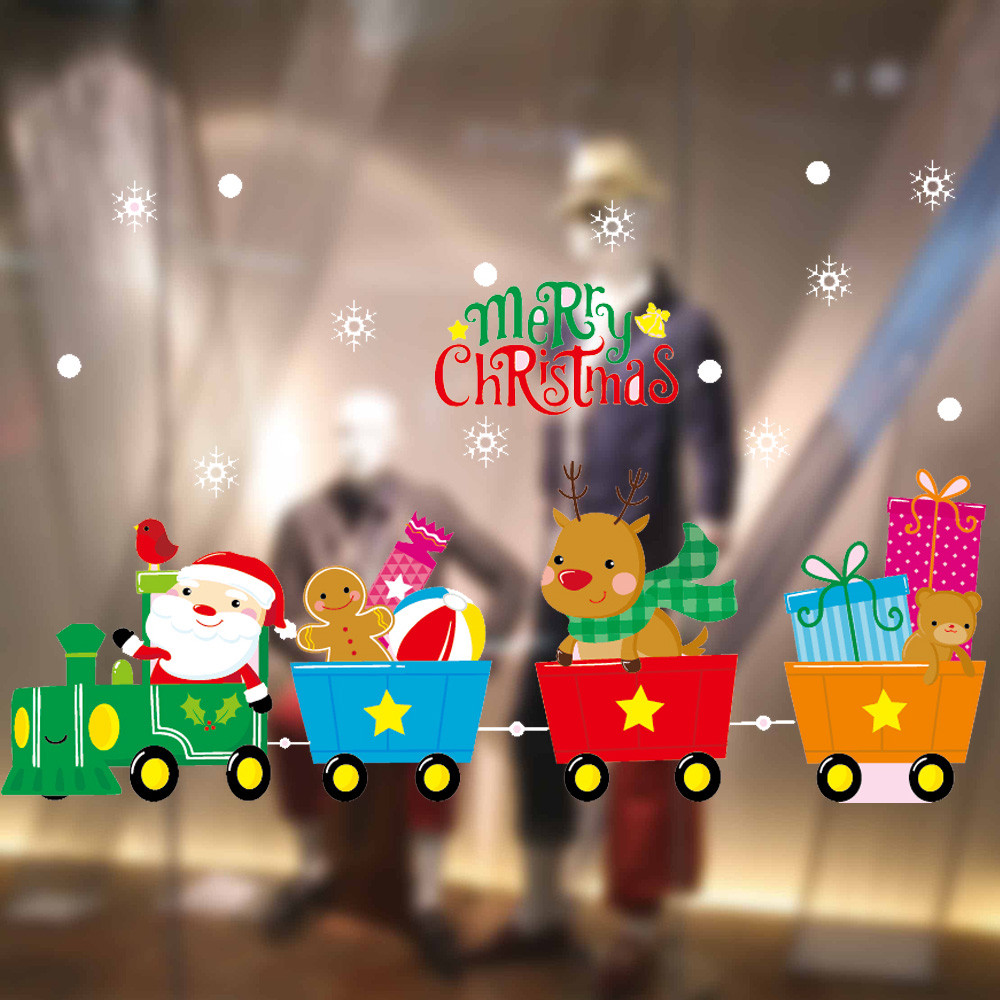 2018 Merry Christmas Window Stickers Static Electricity Removable Home Room For Supermarket