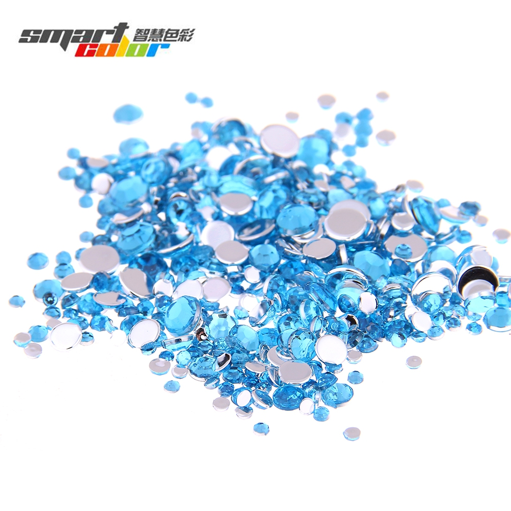 Multi-size Optional Aquamarine Color Acrylic Rhinestones Shoes Sparkling Nail Art Decorations Clothing Decorations
