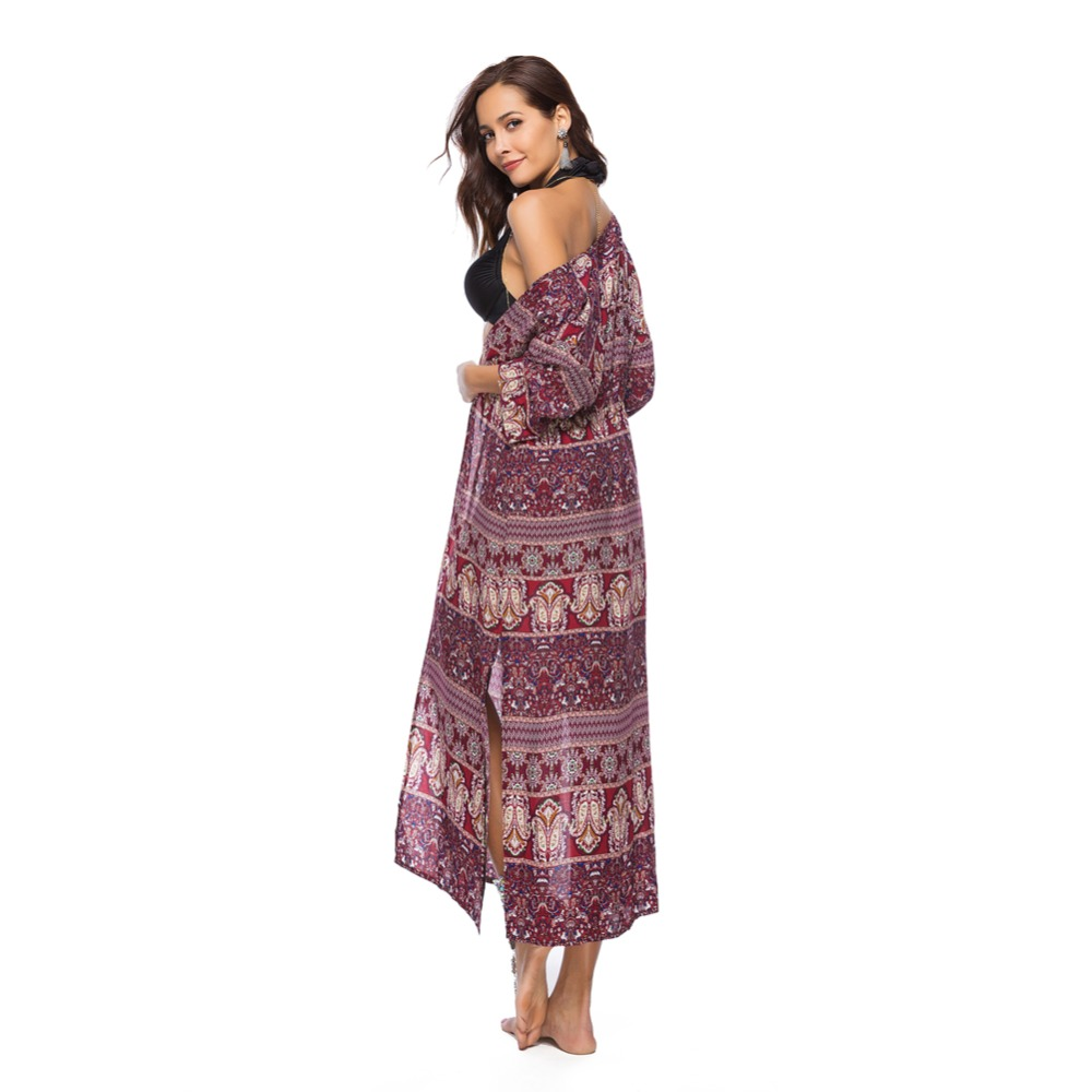c45a8950b95a1 Jessie Vinson Bohemian Style Kimono Cardigan Women Plus Size Beach Cover Up  Summer Boho Print Loose Red Blouse Tops Female Coat-in Blouses   Shirts  from ...
