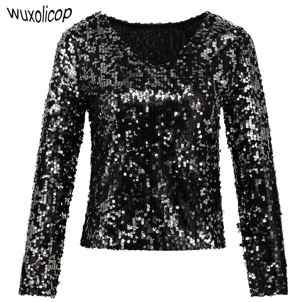216f52bb37 Sexy Plunge Long Sleeve Sequin Tunic Top Shiny Women Black Silver V-Neck  Crop Top