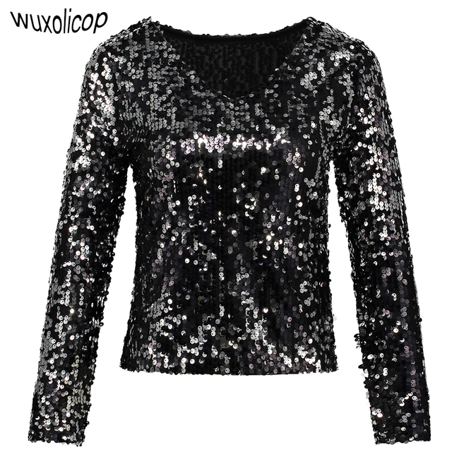 3b636c95ea1cfe Sexy Plunge Long Sleeve Sequin Tunic Top Shiny Women Black Silver V-Neck  Crop Top Summer Short Party Club Blouse Shirt