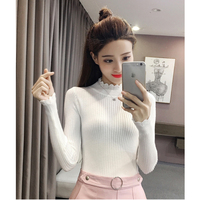 Ladies Long Sleeve Cuffs Korean Version Of The Knitted Sweater 2018 Wild Slim Elegant Autumn High