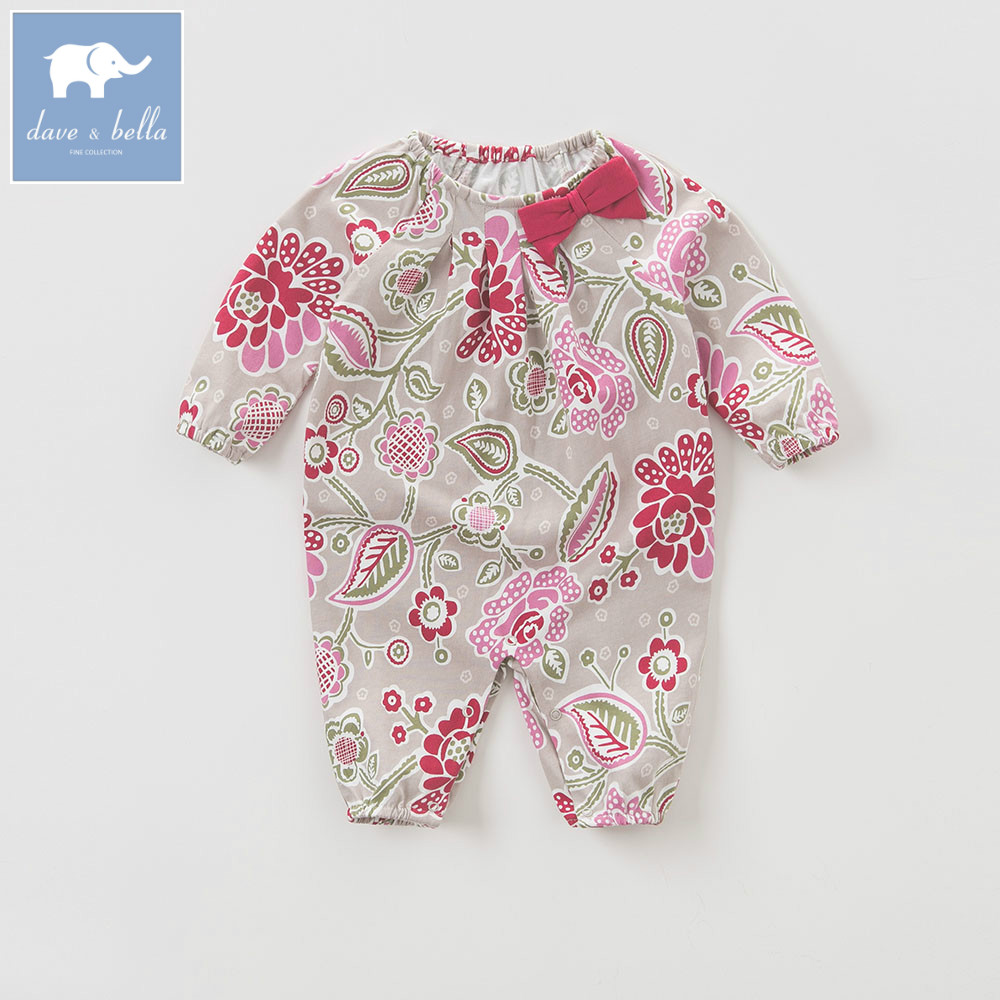 DB5706 dave bella autumn new born baby cotton romper infant clothes girls floral cute floral romper baby 1 piece db5033 dave bella summer new born baby unisex rompers cotton infant romper kids lovely 1 pc children romper