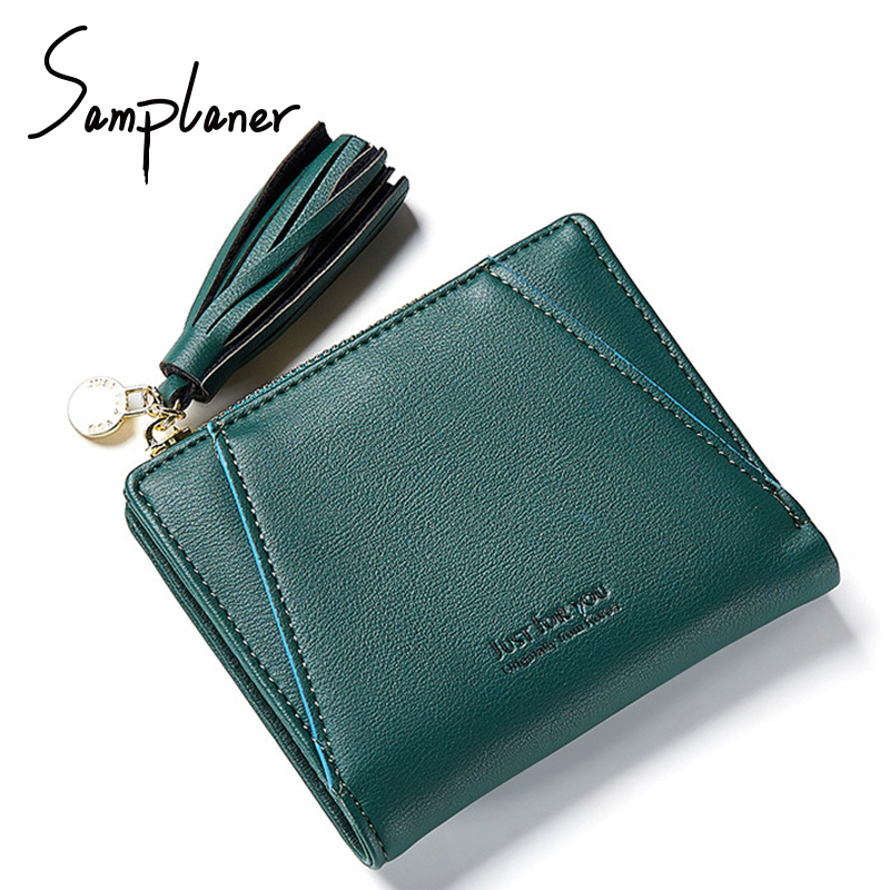 Samplaner Short Tassels Purse Women Wallets Leather Candy Color Small Lady Wallet Clutch Cards Holder Bifold Coin Purses Female