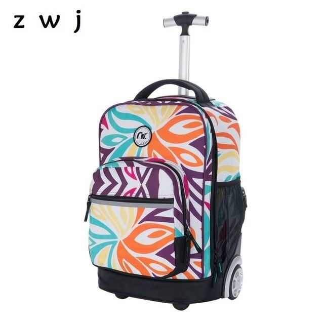 75cef106f2 18 Inch Rolling Backpack Children School Luggage Laptop Multifunction  Wheeled Book bag Travel Trolley School Bags