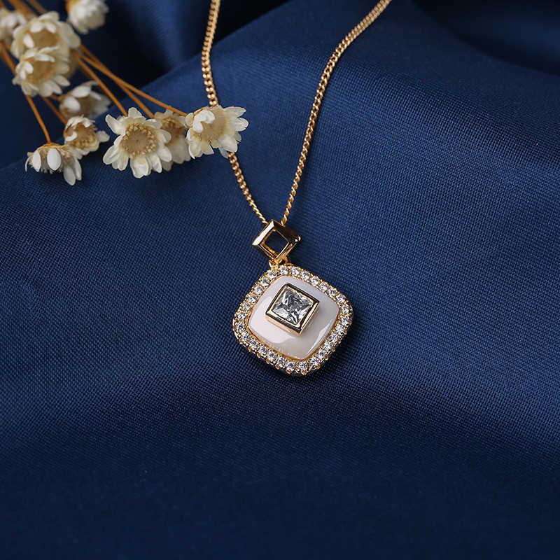Новые женские ювелирные изделия золотого цвета Кристалл квадратной формы кулон ожерелье с белой керамикой и небольшой пустой кубик для девушек подарки