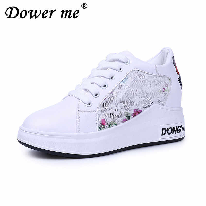d6c3f2f32bd9c0 New 2019 Summer Women Wedge Casual Shoes Lace Women s Shoes Mesh Sneakers  Breathable Zapatillas Platform Heels